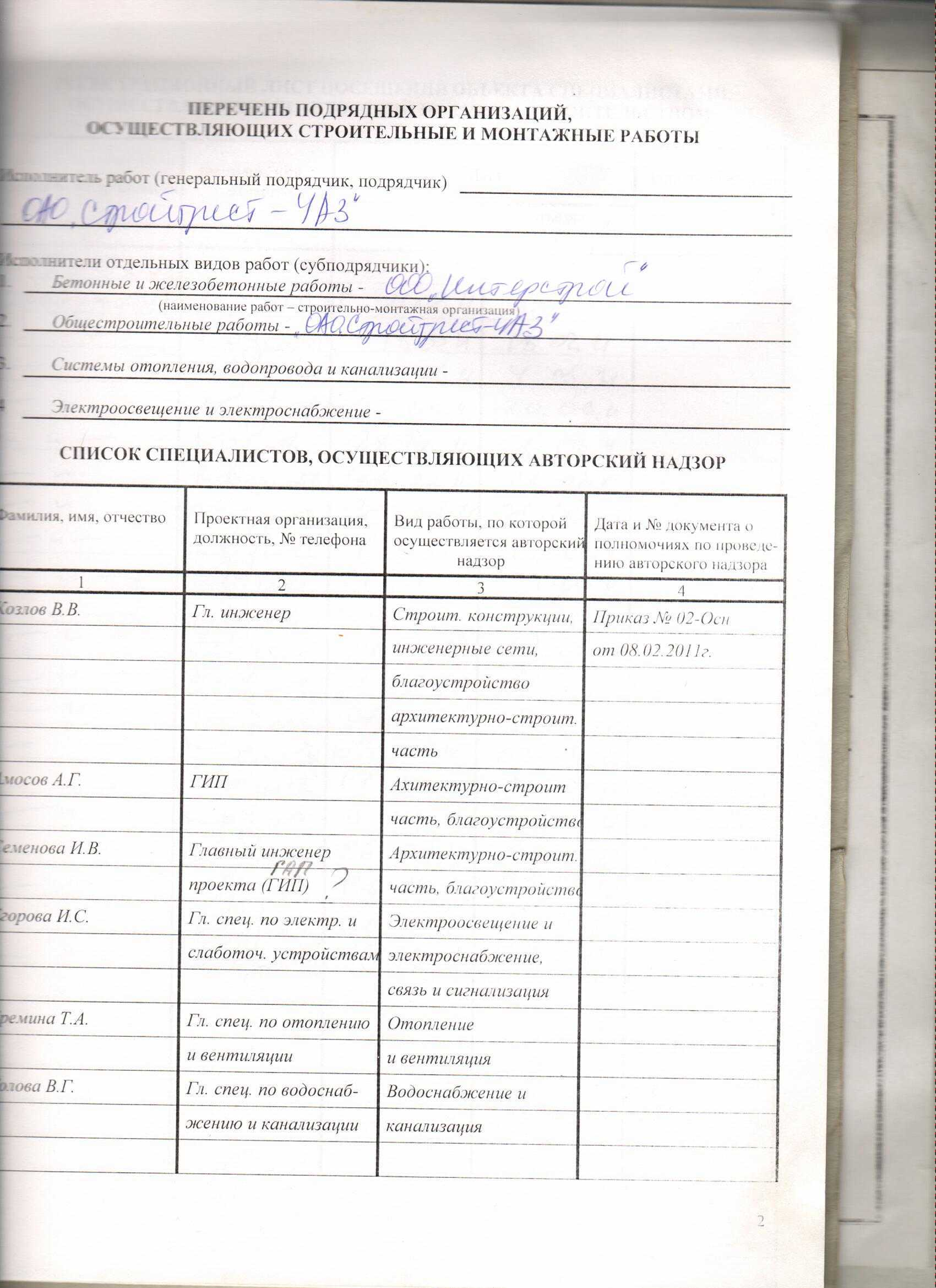 Пример Журнала Авторского Надзора