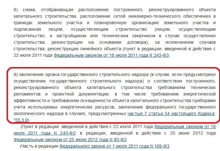 п.9 ч. 3 ст.55 ГрК РФ